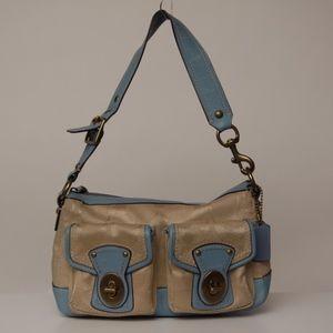 Coach legacy satchel bag signature beige blue